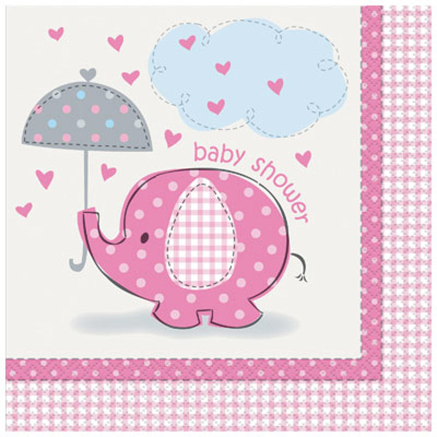 Umbrellaphants Pink Baby shower napkins