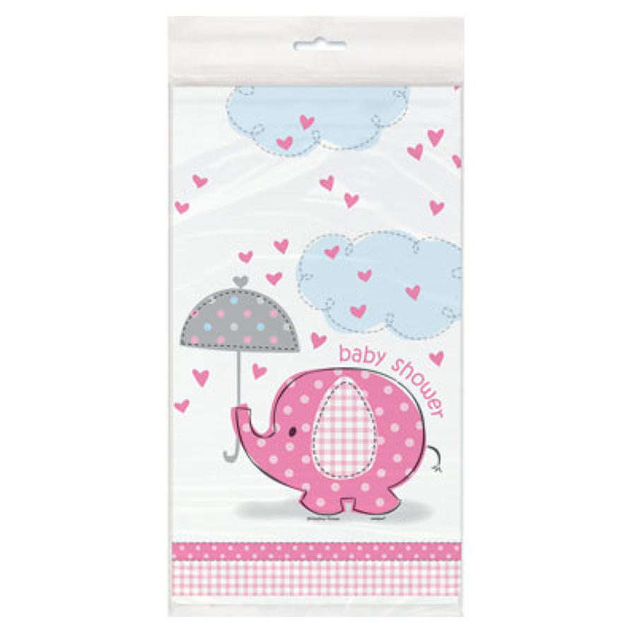 Umbrellaphants Pink Baby Shower table cover