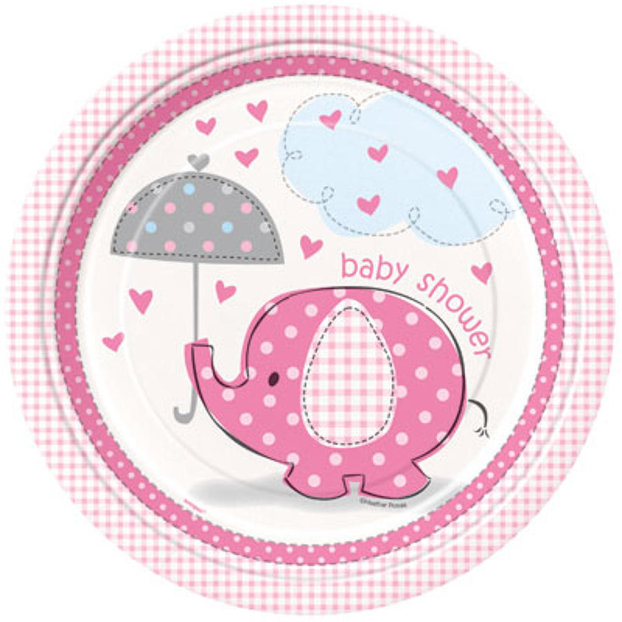 Umbrellaphants Baby Shower plates