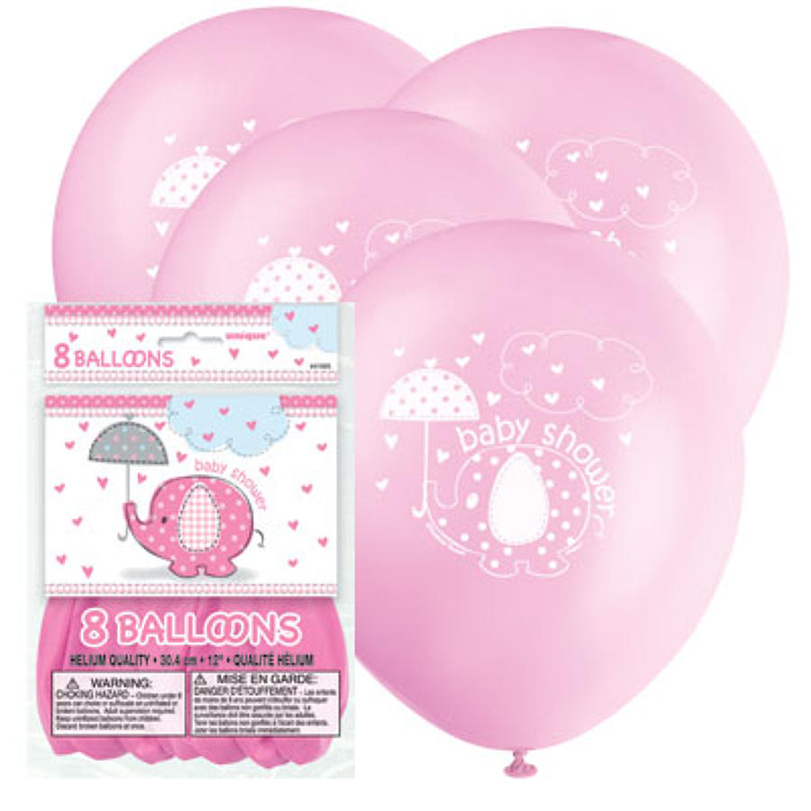 Umbrellaphants Pink Baby Shower balloons
