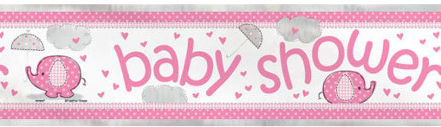 Umbrellaphants Pink Baby Shower Banner