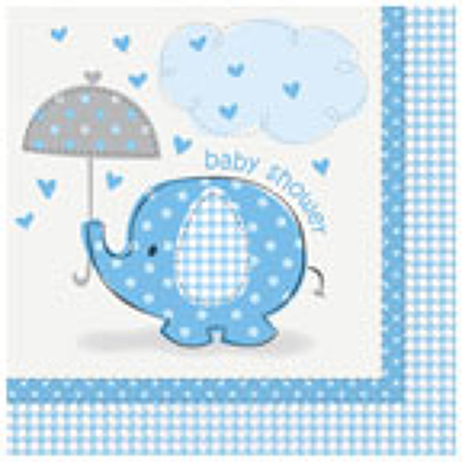 Umbrellaphants Blue Baby Shower napkins