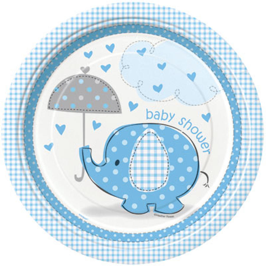 Umbrellaphants Blue Baby Shower design plates