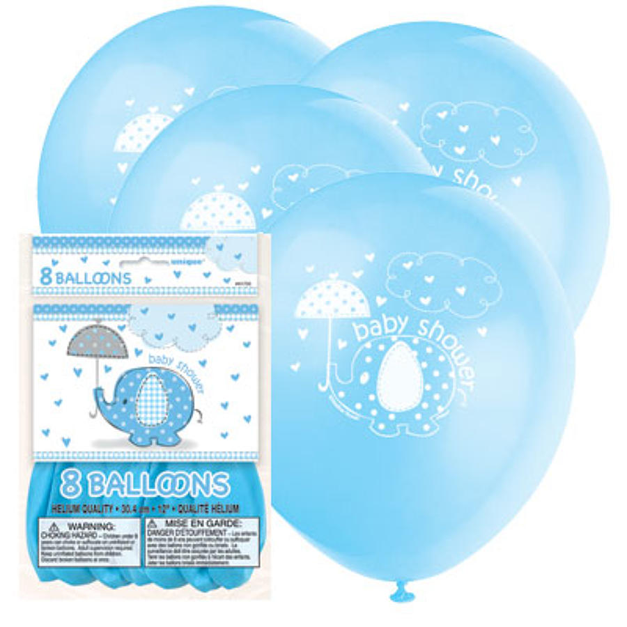 Umbrellaphants Blue Baby Shower latex balloon