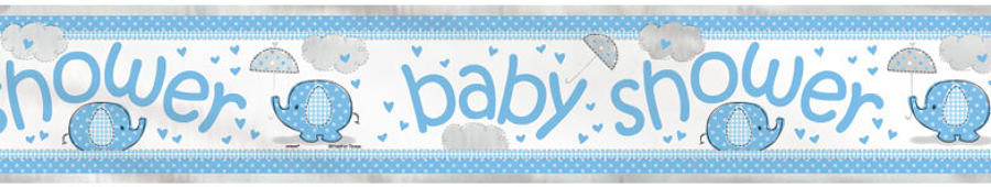 Umbrellaphants Blue Baby Shower foil banner