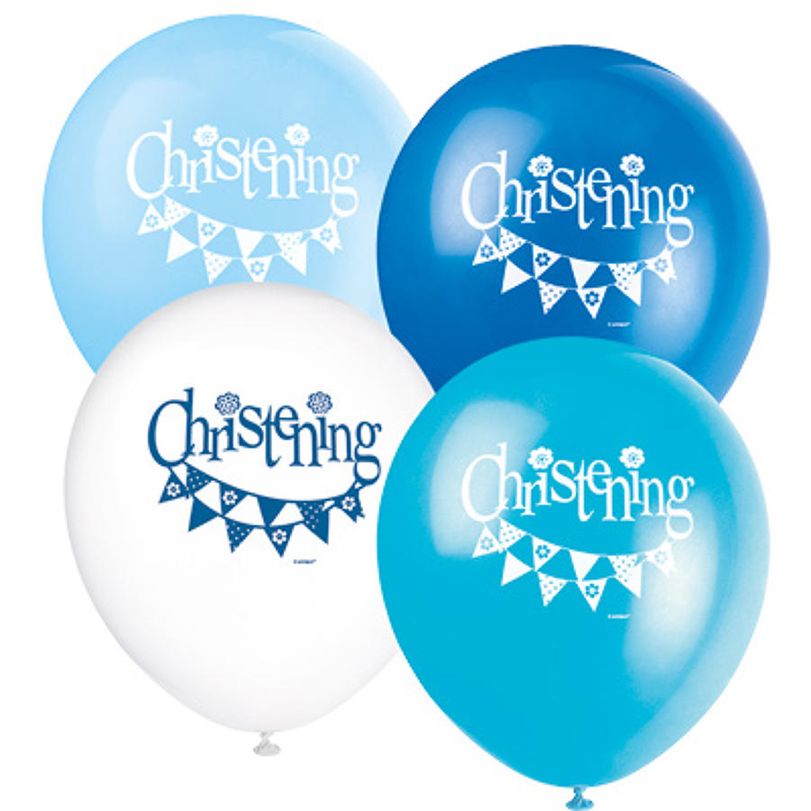 Christening blue latex balloons