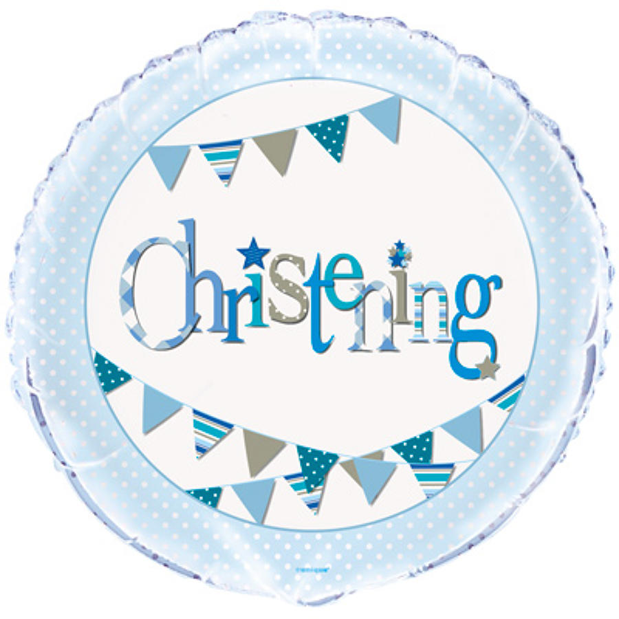 Christening blue foil balloon
