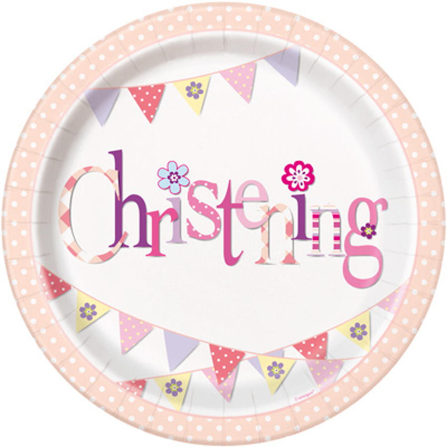 Christening pink plates