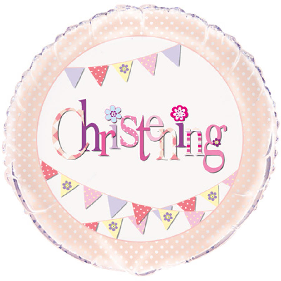 Christening pink bunting foil balloon