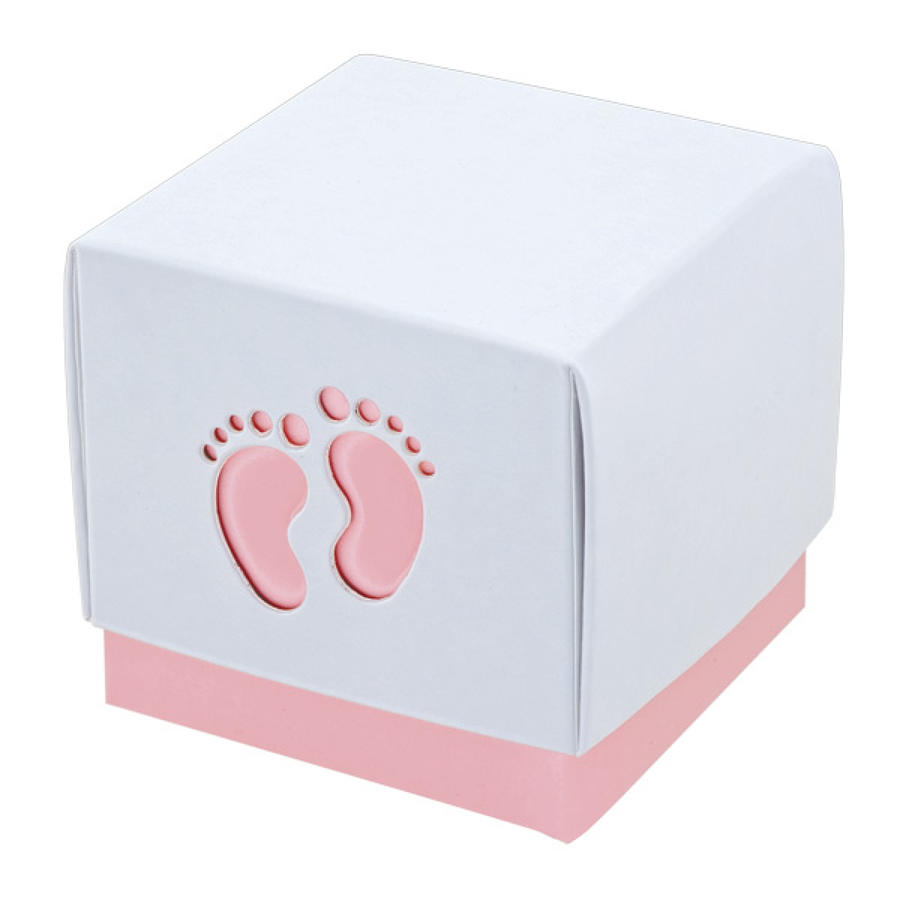 Footprint pink/white favour boxes