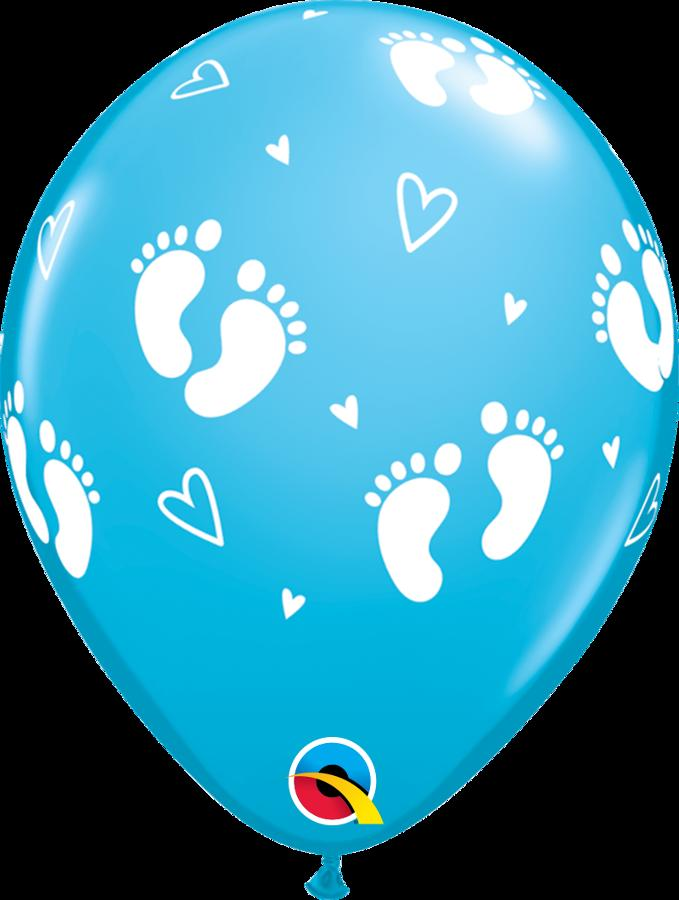 Qualatex blue Footprint latex balloons