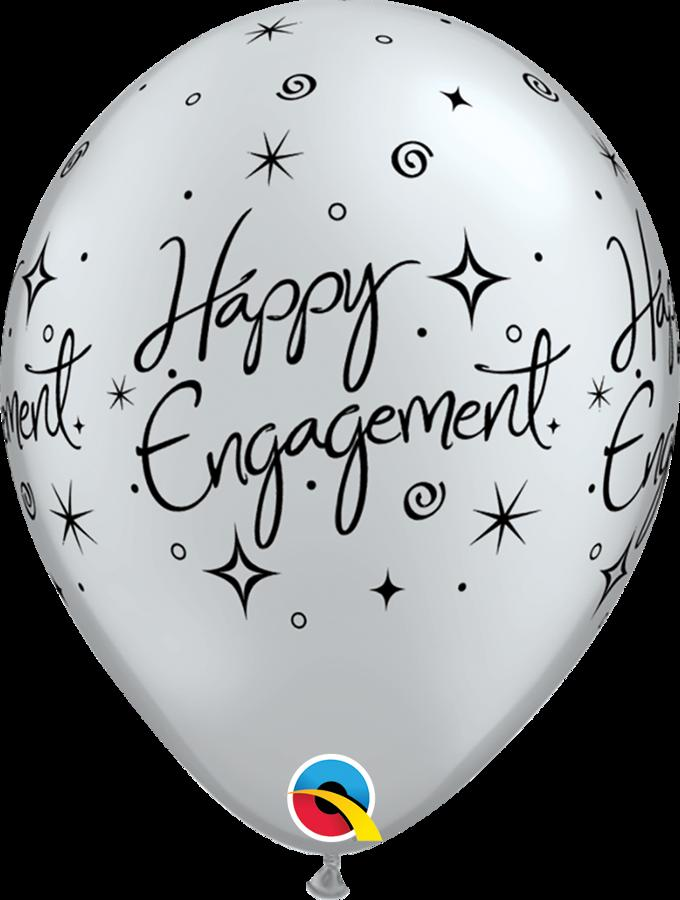Happy Engagement latex balloons - Silver