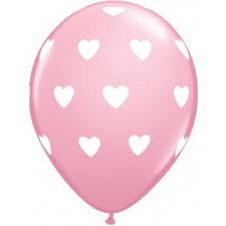 Pink balloons with white hearts