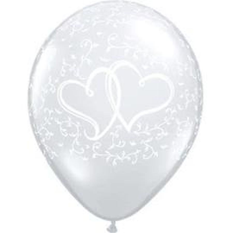 Entwined heart silver latex balloons