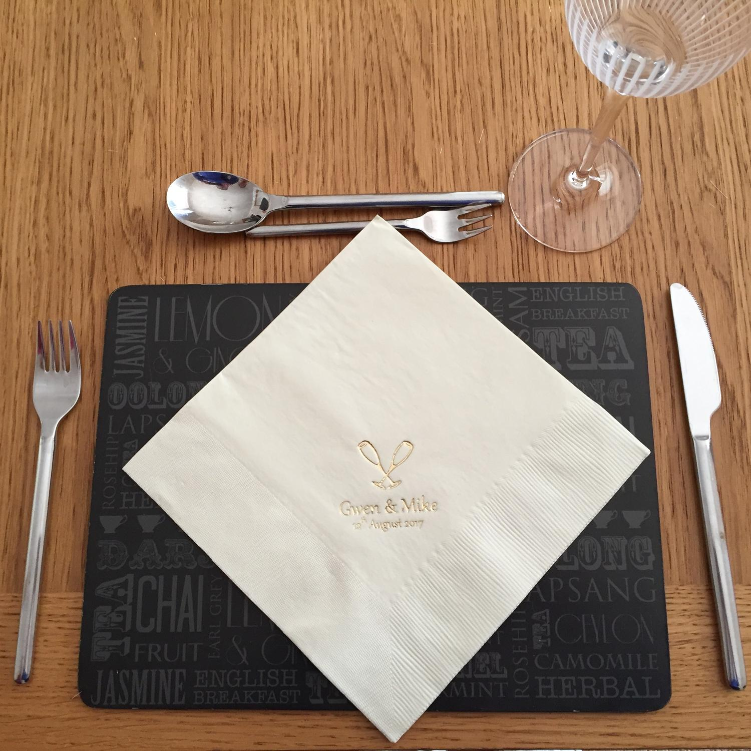 Personalised serviettes - choice of colour, text and design