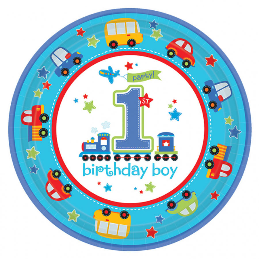 1st Birthday All Aboard plates