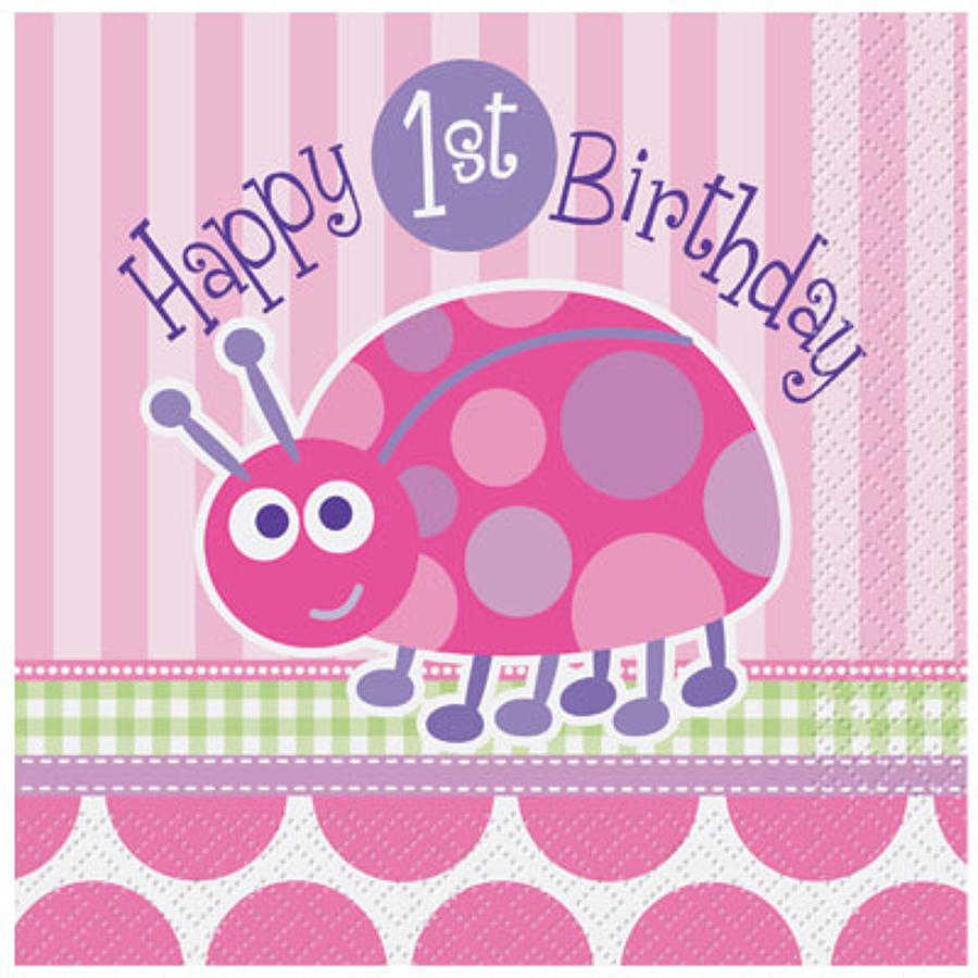 1st Birthday Lady Bug serviettes