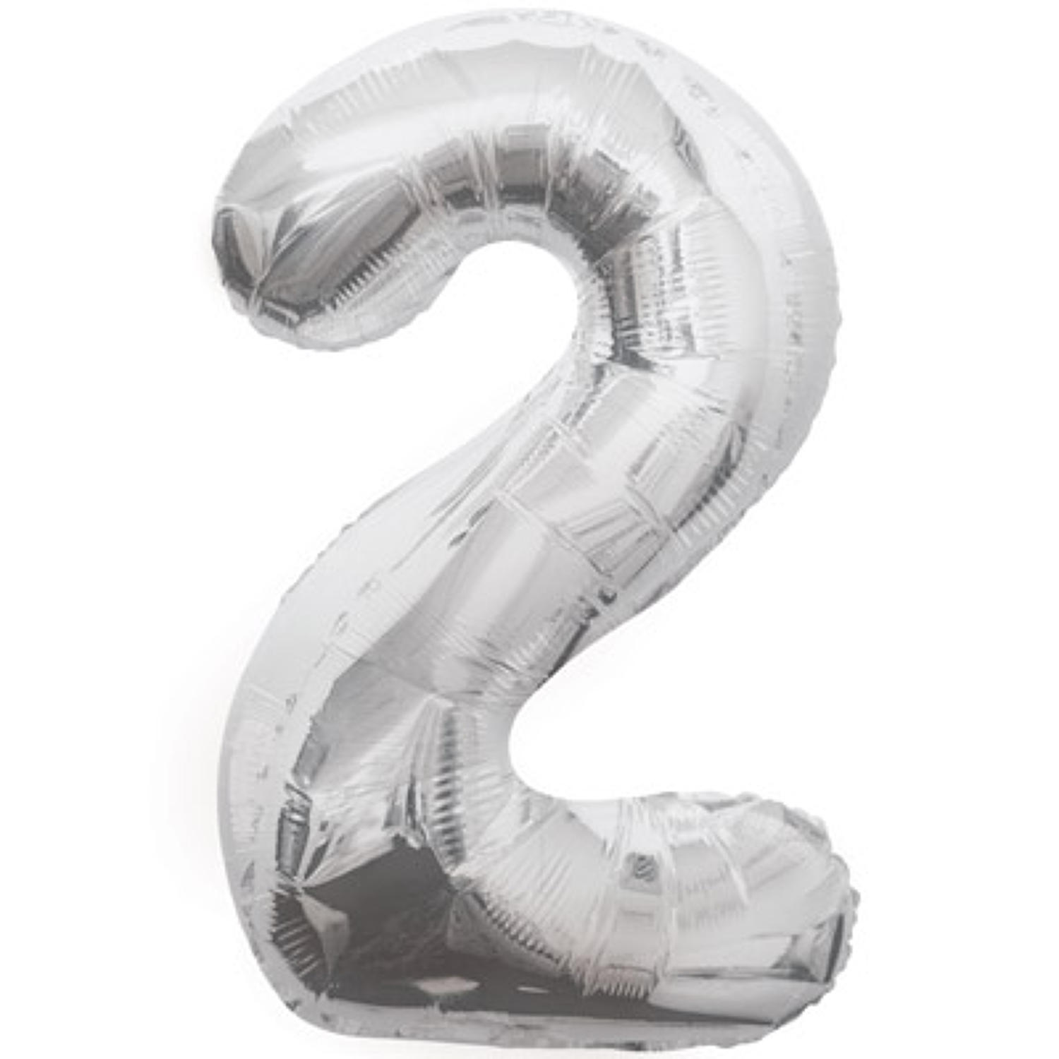 Number 2 foil balloon - silver