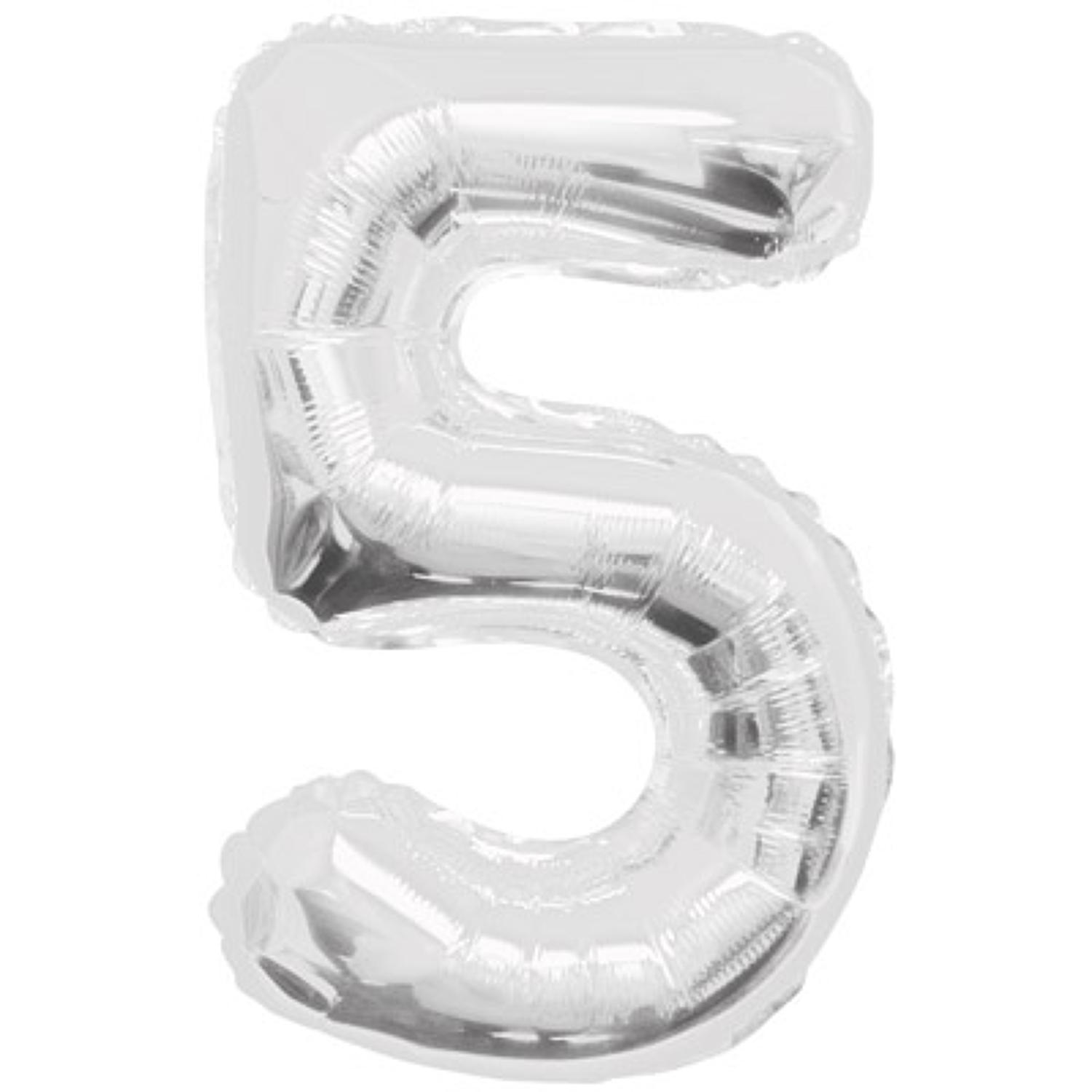 Number 5 foil balloon - silver