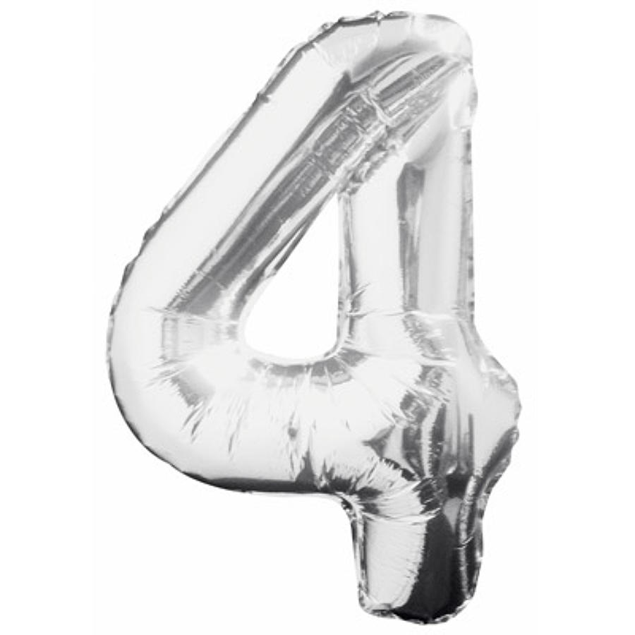 Number 4 foil balloon - silver