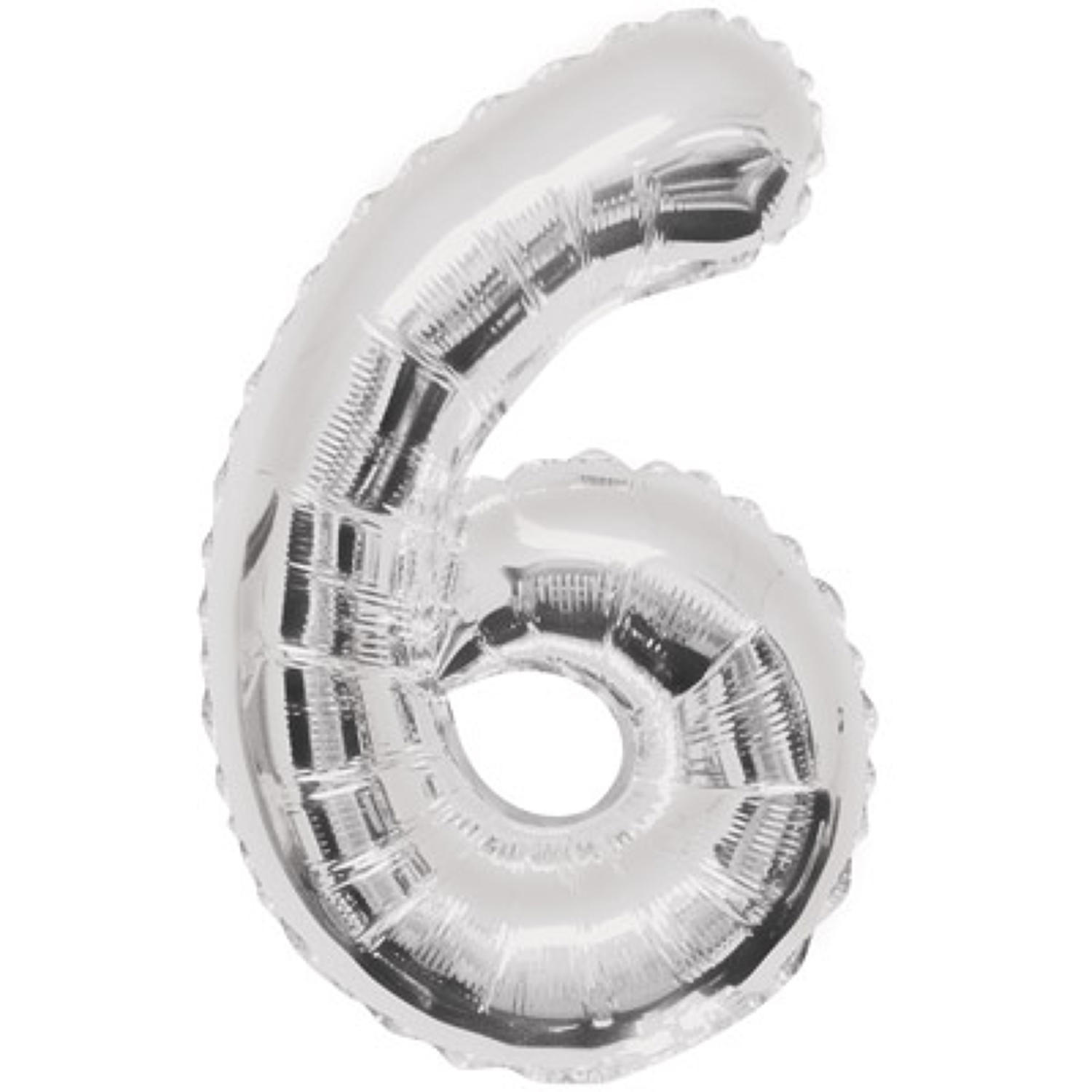 Number 6 foil balloon - silver