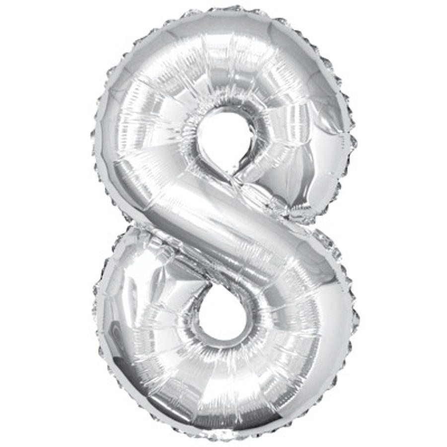 Number 8 foil balloon - silver