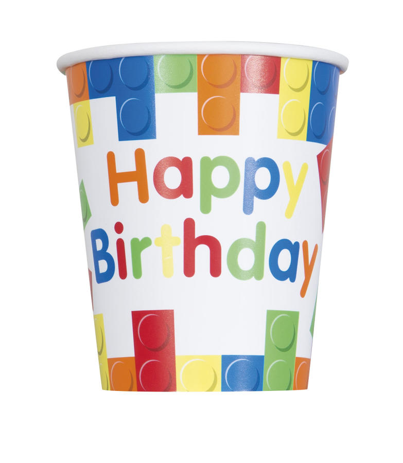 Building Blocks theme paper cups