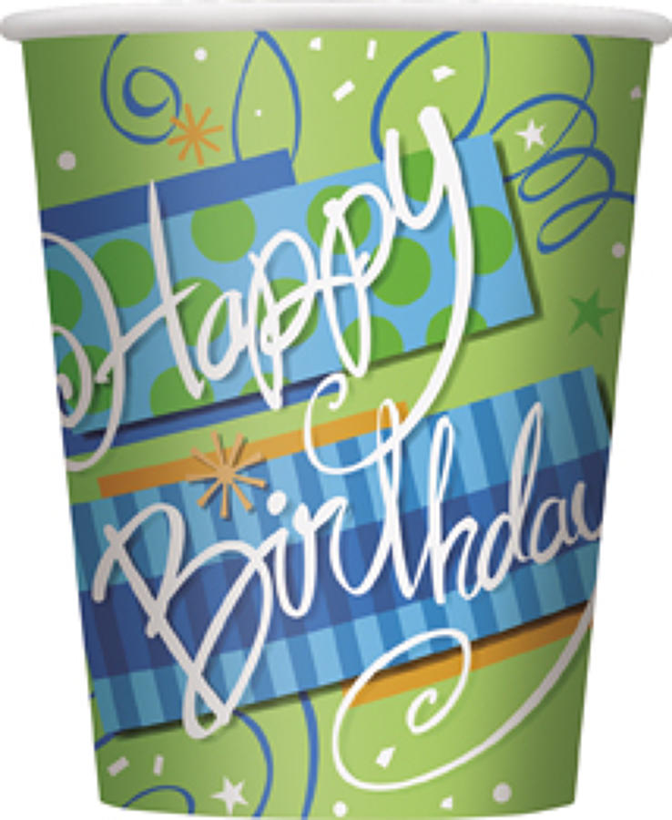 Bright Birthday theme paper cups
