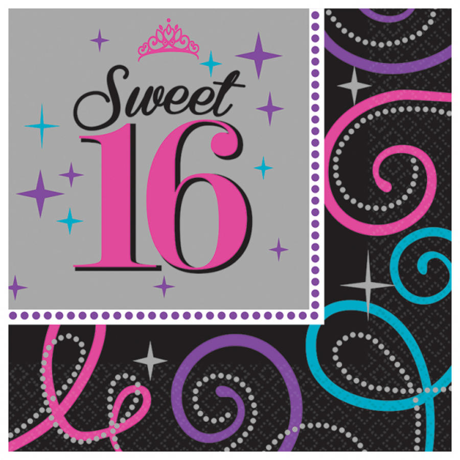 16th Birthday serviettes