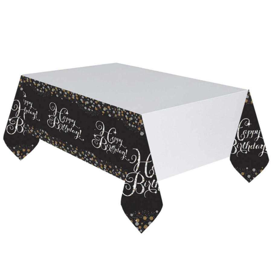 Happy Birthday Table Cover - Black Gold