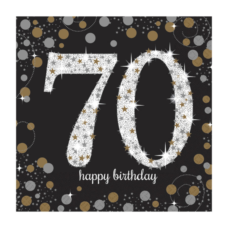 Gold Celebration 70th Birthday serviettes