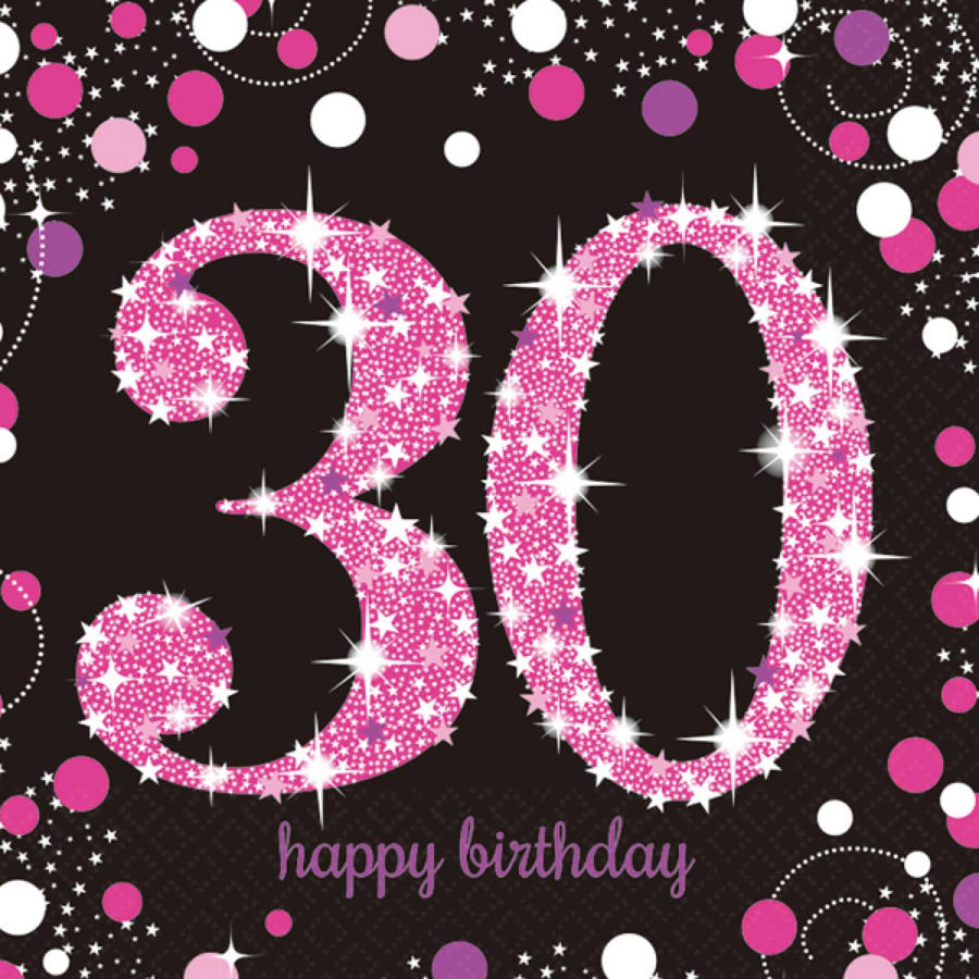 Pink Celebration 30th Birthday serviettes