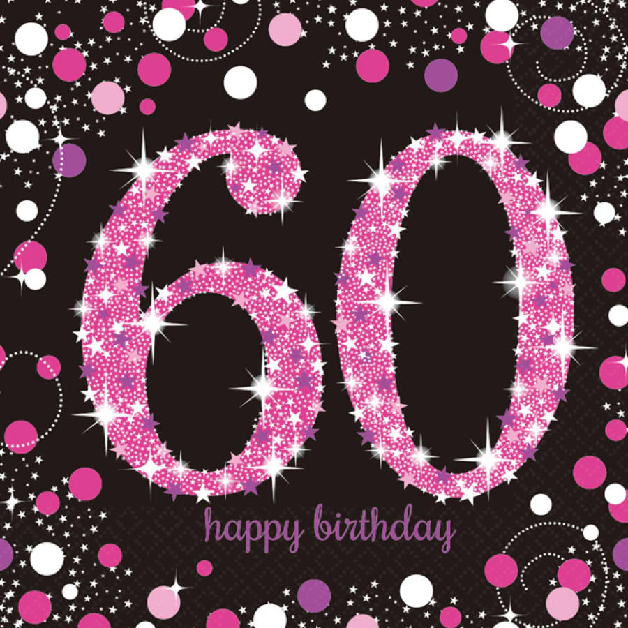 Pink Celebration 60th Birthday serviettes