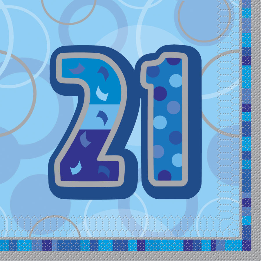 Blue Glitz 21st Birthday Serviettes