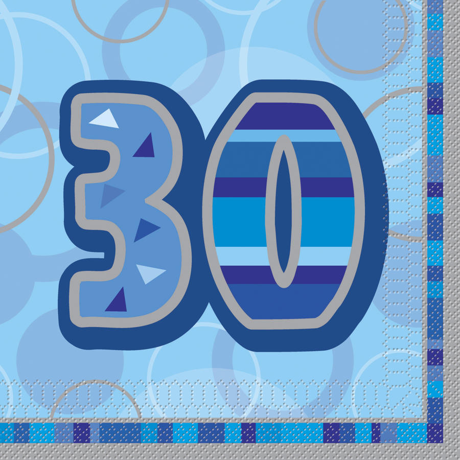 Blue Glitz 30th Birthday serviettes