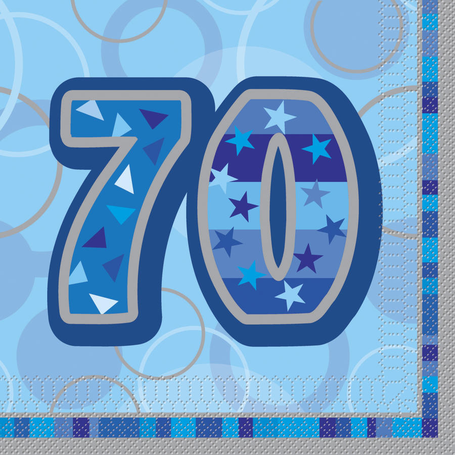 Blue Glitz 70th Birthday serviettes