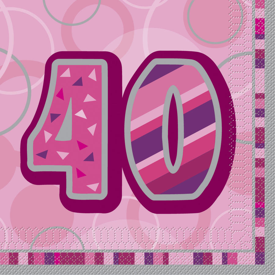 Pink Glitz 40th Birthday serviettes
