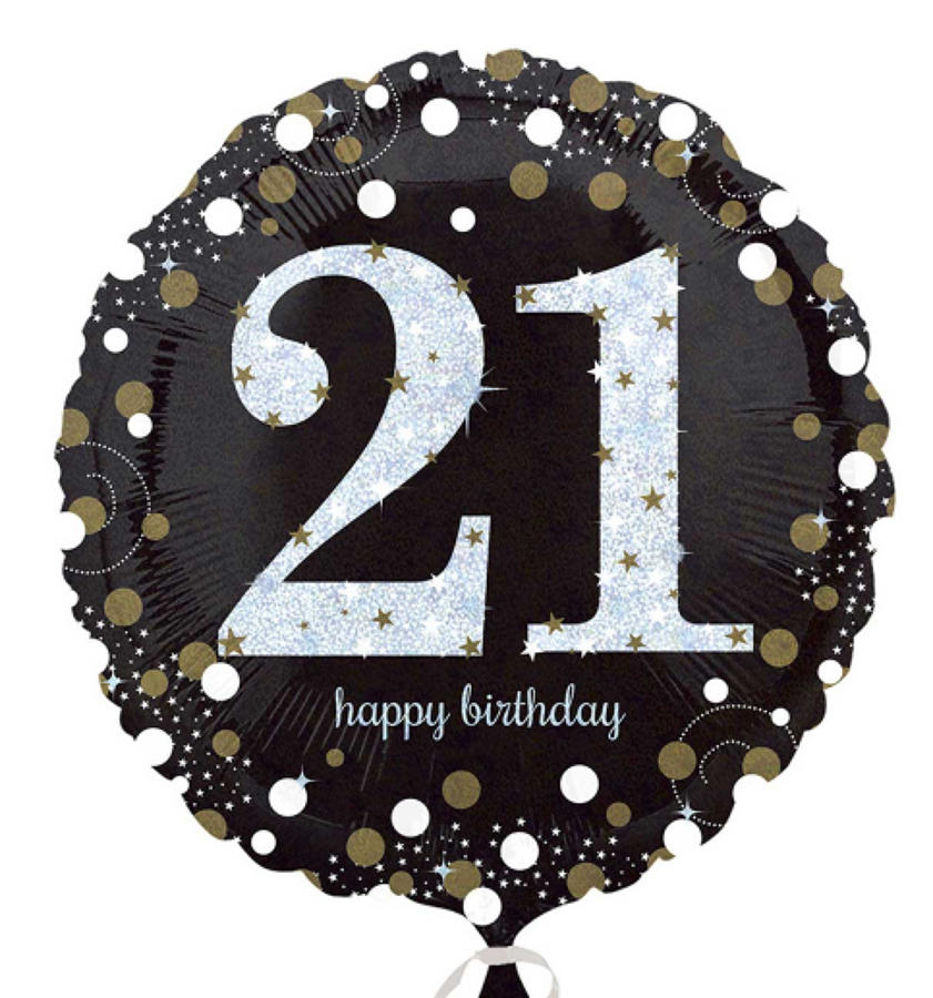 Gold Celebration 21st Birthday foil balloon