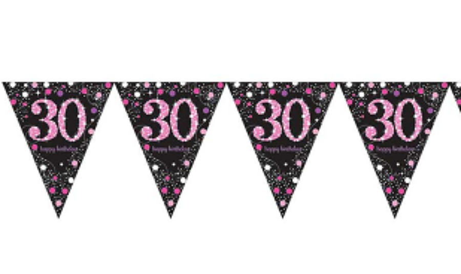 Pink Celebration 30th Birthday Bunting