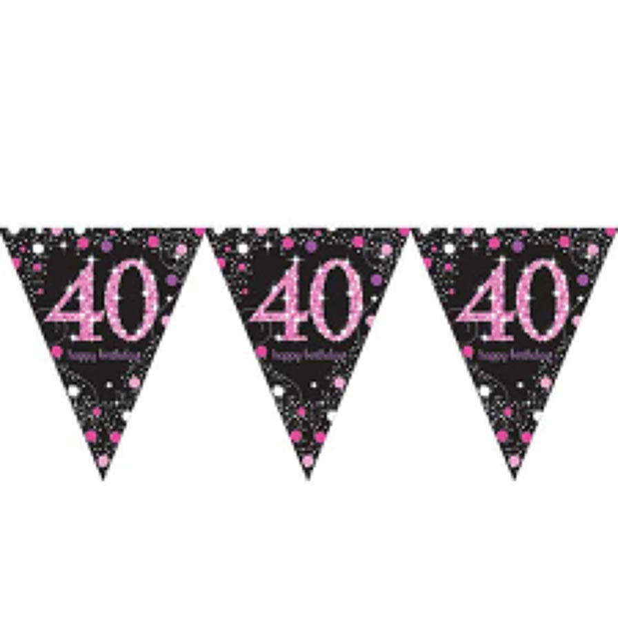 Pink Celebration 40th Birthday bunting