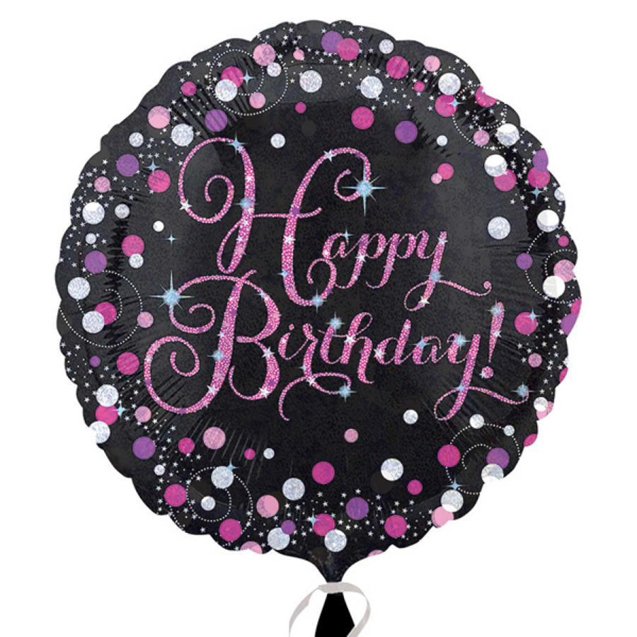 Pink Celebration Happy Birthday foil balloon