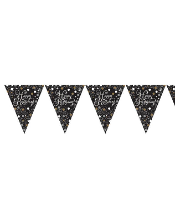 Gold Celebration Happy Birthday bunting
