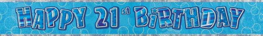Blue Glitz 21st Birthday banner