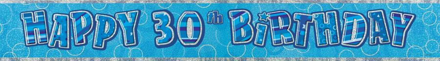 Blue Glitz 30th Birthday banner