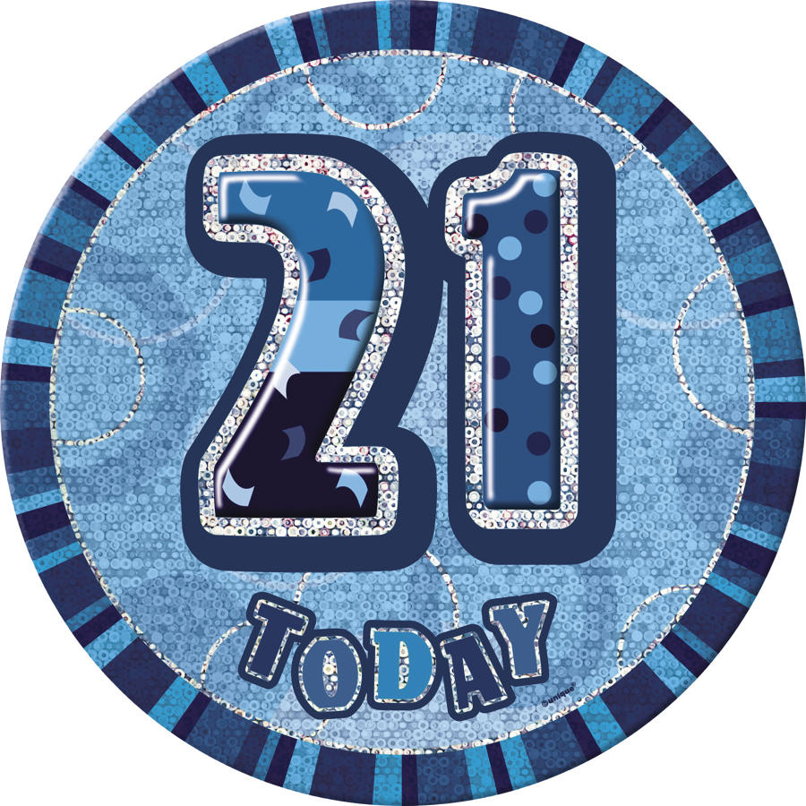 Blue Glitz 21st Birthday badge