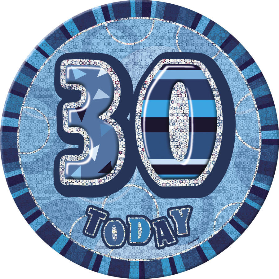 Blue Glitz 30th Birthday badge