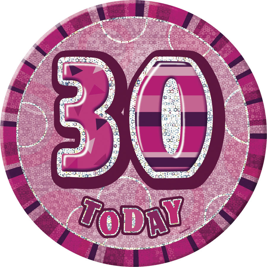 Pink Glitz 30th Birthday badge