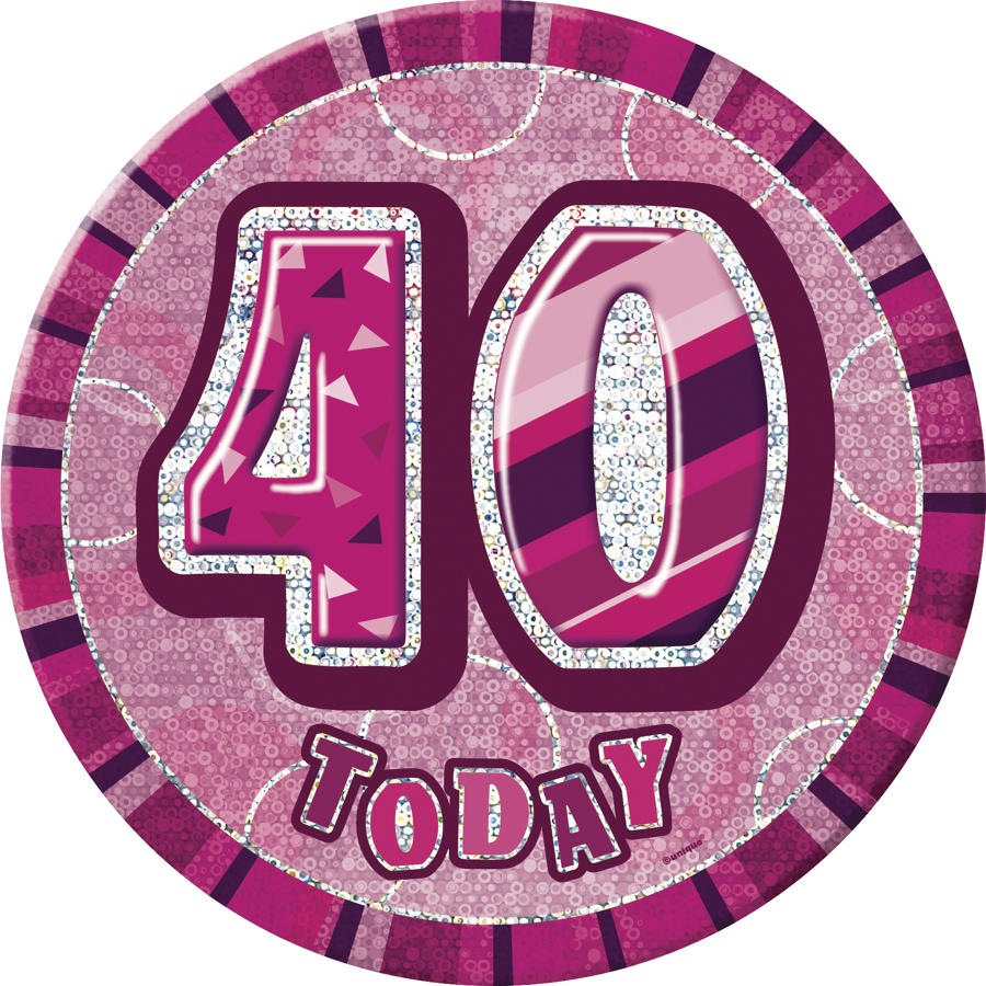 Pink Glitz 40th Birthday badge