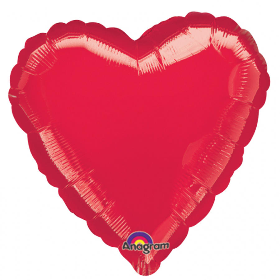 Red heart foil balloon