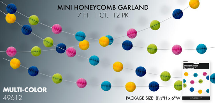 Multicoloured honeycomb garland